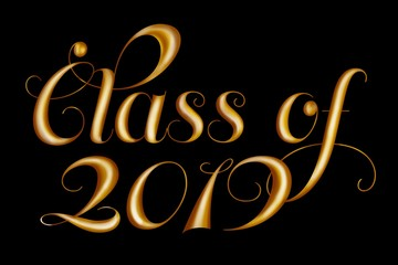 Class of 2019 gold typography isolated on black background