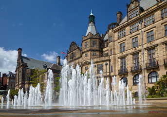 The fountain in the Peace Gardens. Sheffield. England