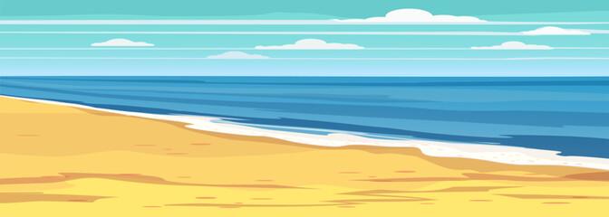 Summer seascape, beach, summer vacation. Holiday season vacation at sea