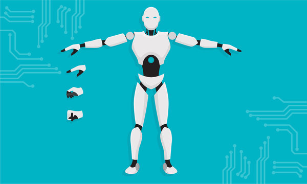 AI technology. Artificial Intelligence Technology with Machine Learning Robotic Head with Electronic Nodes and Code Vector Illustration