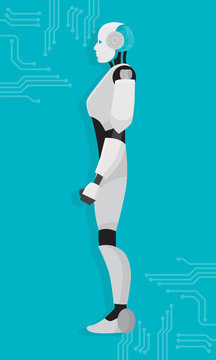 AI Artificial Robot Side View Machine Learning Technology Vector Illustration