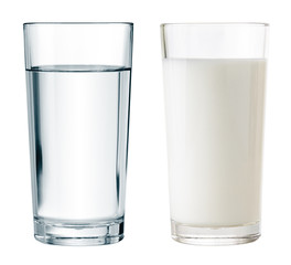 water and milk glasses isolated with clipping path included