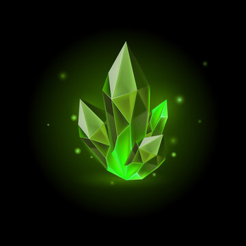 Magic Green Crystal with Sparkle. Decoration icon for Games. Cartoon crystals Illustration. Stone Healing Energy on Black Background