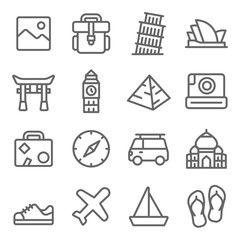Travel Icon Set. Contains such Icons as Landmark, Torii, Opera House, Taj Mahal ,Big Ben and more. Expanded Stroke