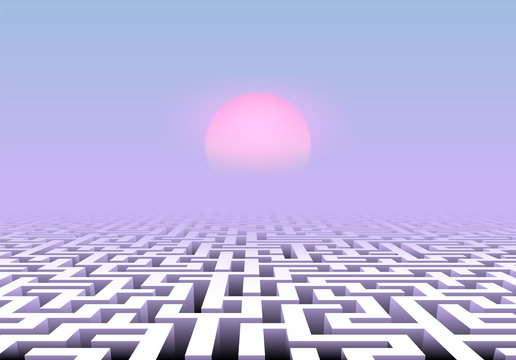 Vapor wave styled scenic landscape with maze below pink and blue sky and pale sun over labyrinth