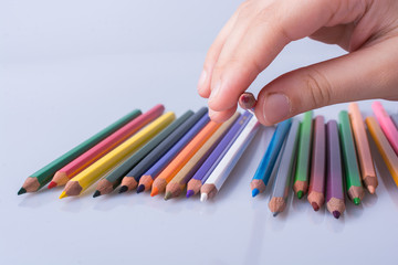Color Pencils on a white background