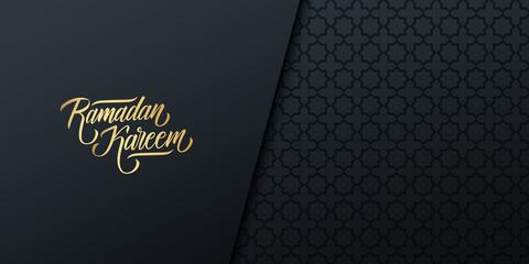 Ramadan celebrate banner with golden colored handwritten inscription Ramadan Kareem and black arabic pattern. Vector illustration.