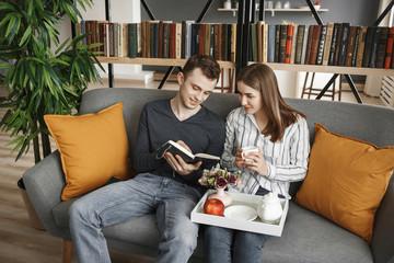 love couple planning honeymoon trip