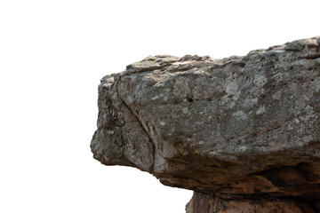 Fototapeta Cliff stone located part of the mountain rock isolated on white background. obraz