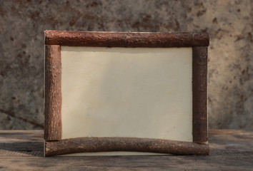 wooden frame on the wooden table