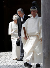 Japan's Empress Michiko leaves the main sanctuary during her visits at Inner shrine of the Ise Jingu shrine, ahead of Emperor Akihito's April 30, 2019 abdication, in Ise