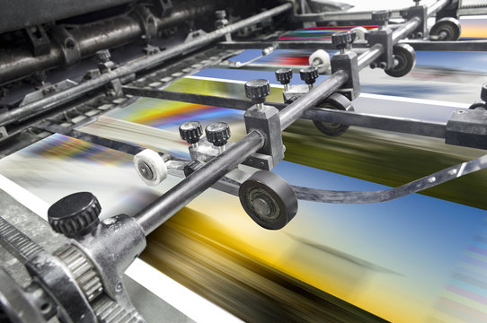Magazine, Brochure, Poster, Flyer print. Polygraphic process in a modern printing house