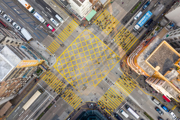 Fototapete - Top view of Hong Kong city traffic system