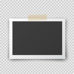 Photo frame with shadow pin on sticky tape. Old empty black snapshot isolated on transparent background. Vector picture for your design.