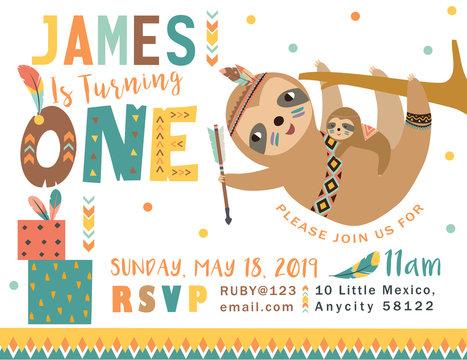 Happy birthday party invitation card with cartoon tribal animals. Vector illustration - Vector