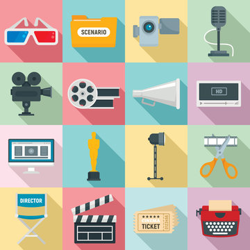 Film production icons set. Flat set of film production vector icons for web design