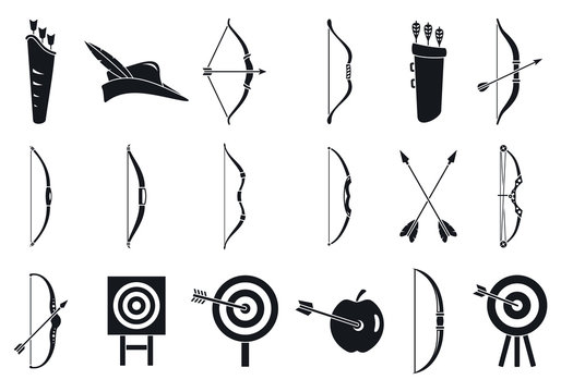 Archery sport icons set. Simple set of archery sport vector icons for web design on white background