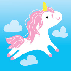 Cute Unicorn Fly in Sky Kid Graphic Illustration