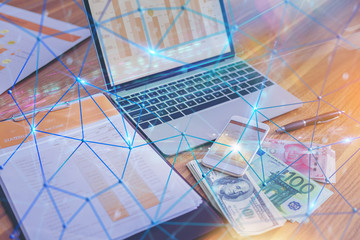 Smart devices with dollar money, Euro money, Yuan money and digital visual effect as connection network income