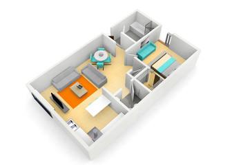 3d floorplan of a cgi of an apartment