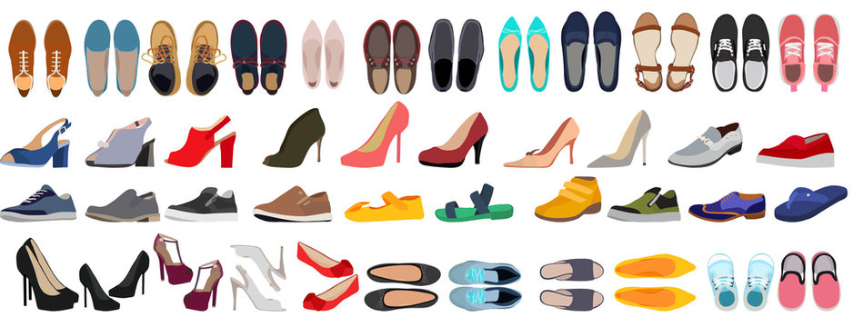 vector, isolated, set of men's and women's shoes