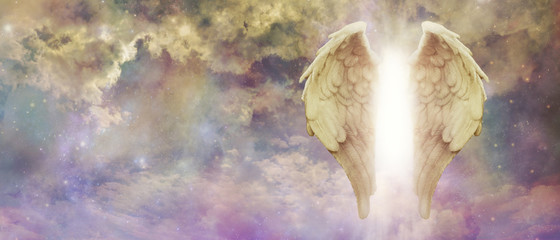 Guardian Angel Light Being Watching Over You - pair of golden Angel Wings with a bright light between against a colourful turbulent cloudscape with copy space