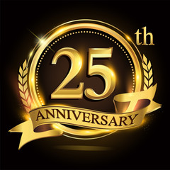 25th golden anniversary logo with ring and ribbon, laurel wreath vector design.