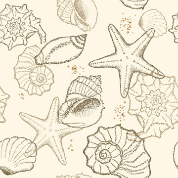 Seashells on a sandy background. Vector seamless pattern. Dot design.