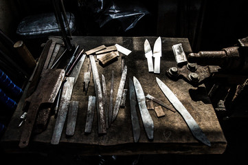 Tools on a table of sword blacksmith
