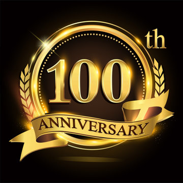100th golden anniversary logo with ring and ribbon, laurel wreath vector design.