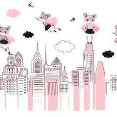 Supergirls postaci z kreskówek w mieście latają nad i stoją na budynkach. Dziewczęcy wzór superbohatera bez szwu granicy. Grafika wektorowa doodle. Idealny dla małej dziewczynki jak t-shirt - 262724744