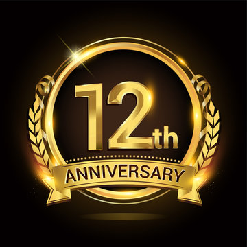12th golden anniversary logo, 12 years anniversary celebration with ring and ribbon, Golden anniversary laurel wreath design.