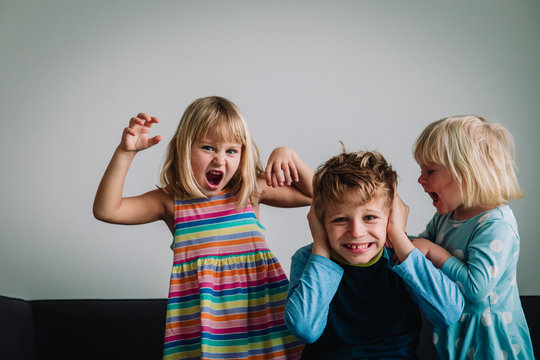 kids shouting, brother and sisters tired of staying home, family problems