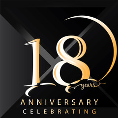 Anniversary 18 years numbers. Poster template for Celebrating 18 years anniversary event party. Vector illustration - Vector
