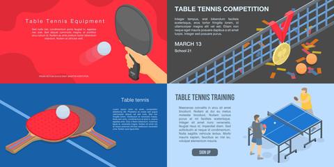 Playing table tennis banner set. Isometric set of playing table tennis vector banner for web design