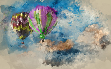 Watercolour painting of Stunning blue sky cloud formations with hot air balloons