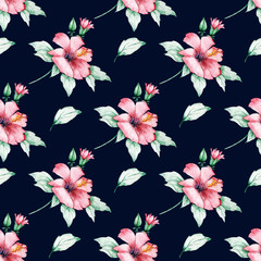 Seamless pattern, flower background. Watercolor tropical design. Repeat fabric wallpaper print texture. Perfectly for wrapped paper, backdrop, frame or border.