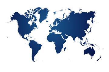 blue map of the world on white background