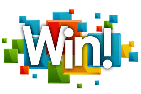 win word in rectangles and white background