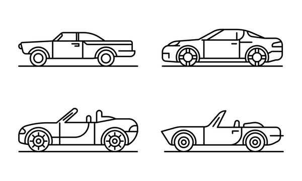 Cabriolet car icons set. Outline set of cabriolet car vector icons for web design isolated on white background