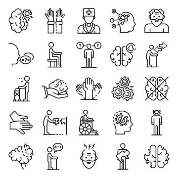 Alzheimers disease icons set. Outline set of alzheimers disease vector icons for web design isolated on white background