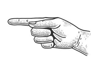 Fototapeta Hand pointer with forefinger index finger sketch engraving vector illustration. Scratch board style imitation. Hand drawn image. obraz