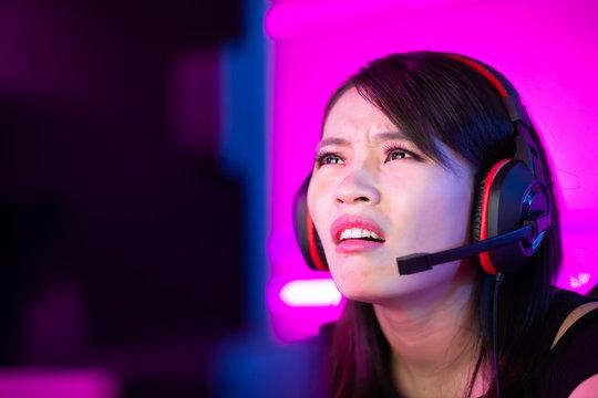 esport gamer girl feel angry