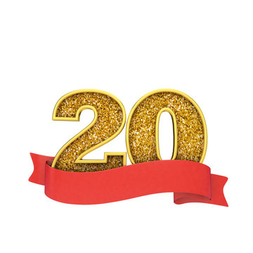 Number 20 gold glitter celebration with a red scroll banner. 3D Render