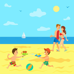 Summertime vacations of kids vector, parents walking along sea while children having battle with guns. Sailboat on water surface, water fight of boys