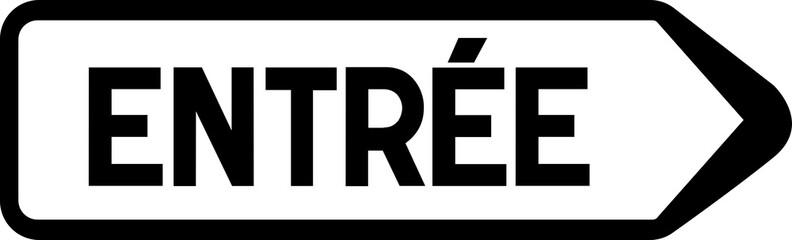 Panneau de signalisation indiquant la direction de l'entrée