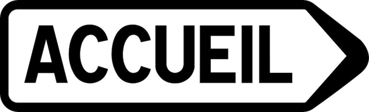 Panneau de signalisation indiquant la direction vers l'accueil