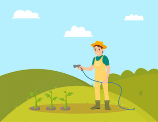 Farmer woman watering plants vector. Farming female person with hose on plantation taking care of growing vegetables. Horticulture and husbandry works