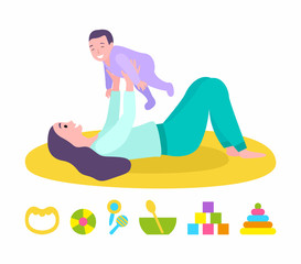 Mother and kid vector, mom holding son. Isolated set of toys for children, cubes and cones for cognitive abilities development, plastic bowl and spoon