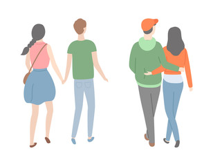 Happy couple back view, dating lovers, isolated people. Vector male and female cartoon characters spend time together. Man and woman in love holding hands
